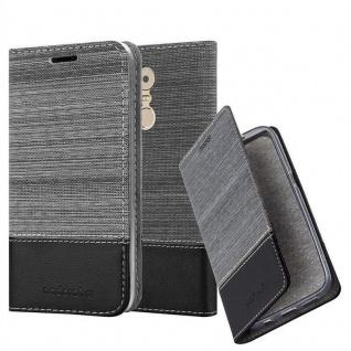 Cadorabo Hülle für Lenovo K6 NOTE in GRAU SCHWARZ - Handyhülle mit Magnetverschluss, Standfunktion und Kartenfach - Case Cover Schutzhülle Etui Tasche Book Klapp Style