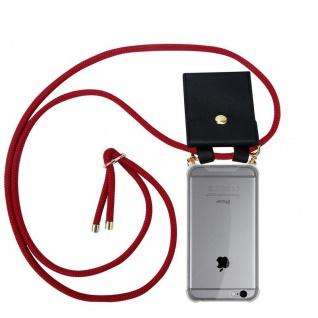 Cadorabo Handy Kette für Apple iPhone 6 PLUS / iPhone 6S PLUS in RUBIN ROT Silikon Necklace Umhänge Hülle mit Gold Ringen, Kordel Band Schnur und abnehmbarem Etui Schutzhülle