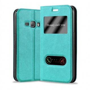 Cadorabo Hülle für Samsung Galaxy J1 2015 in MINT TÜRKIS - Handyhülle mit Magnetverschluss, Standfunktion und 2 Sichtfenstern - Case Cover Schutzhülle Etui Tasche Book Klapp Style