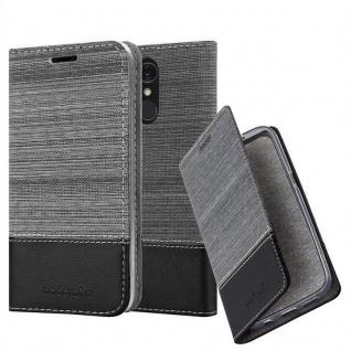 Cadorabo Hülle für LG Q7+ in GRAU SCHWARZ - Handyhülle mit Magnetverschluss, Standfunktion und Kartenfach - Case Cover Schutzhülle Etui Tasche Book Klapp Style