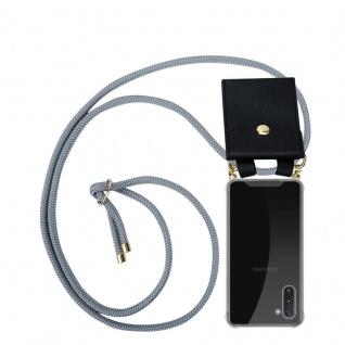 Cadorabo Handy Kette für Samsung Galaxy NOTE 10 in SILBER GRAU Silikon Necklace Umhänge Hülle mit Gold Ringen, Kordel Band Schnur und abnehmbarem Etui Schutzhülle