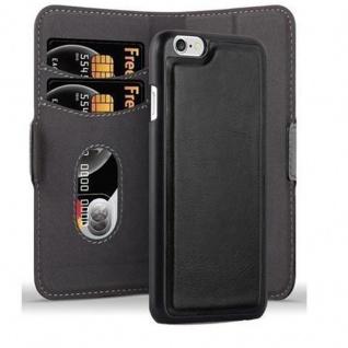 Cadorabo Hülle für Apple iPhone 6 / iPhone 6S Hülle in KOHLEN SCHWARZ Handyhülle im 2-in-1 Design mit Standfunktion und Kartenfach Hard Case Book Etui Schutzhülle Tasche Cover
