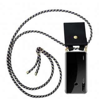 Cadorabo Handy Kette für Huawei P30 LITE in DUNKELBLAU GELB - Silikon Necklace Umhänge Hülle mit Gold Ringen, Kordel Band Schnur und abnehmbarem Etui ? Schutzhülle