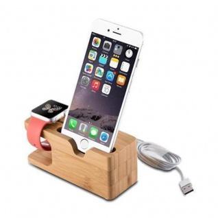 Cadorabo Docking Station - Ladestation aus Echtholz Bambus - Desktop Ständer für alle Smartphones und Smartwatches von z.B. Apple, Samsung, Nokia, Motorola - Vorschau 1
