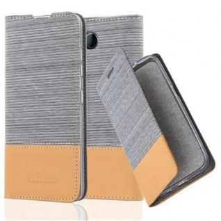 Cadorabo Hülle für Nokia Lumia 650 in HELL GRAU BRAUN - Handyhülle mit Magnetverschluss, Standfunktion und Kartenfach - Case Cover Schutzhülle Etui Tasche Book Klapp Style