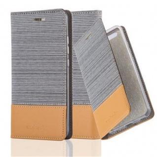 Cadorabo Hülle für Huawei P10 PLUS in HELL GRAU BRAUN - Handyhülle mit Magnetverschluss, Standfunktion und Kartenfach - Case Cover Schutzhülle Etui Tasche Book Klapp Style
