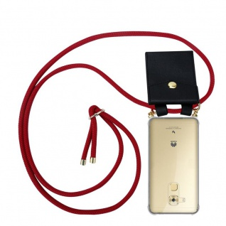 Cadorabo Handy Kette für Huawei NOVA PLUS in RUBIN ROT - Silikon Necklace Umhänge Hülle mit Gold Ringen, Kordel Band Schnur und abnehmbarem Etui ? Schutzhülle