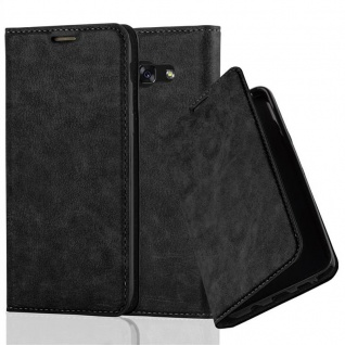 Cadorabo Hülle für Samsung Galaxy A7 2017 in NACHT SCHWARZ - Handyhülle mit Magnetverschluss, Standfunktion und Kartenfach - Case Cover Schutzhülle Etui Tasche Book Klapp Style