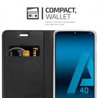 Cadorabo Hülle für Samsung Galaxy A40 in CLASSY SCHWARZ - Handyhülle mit Magnetverschluss, Standfunktion und Kartenfach - Case Cover Schutzhülle Etui Tasche Book Klapp Style - Vorschau 4