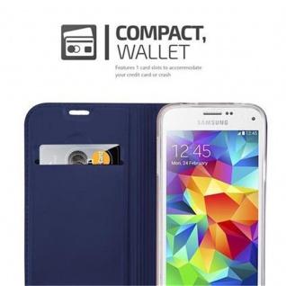 Cadorabo Hülle für Samsung Galaxy S5 MINI / S5 MINI DUOS in CLASSY DUNKEL BLAU - Handyhülle mit Magnetverschluss, Standfunktion und Kartenfach - Case Cover Schutzhülle Etui Tasche Book Klapp Style - Vorschau 3
