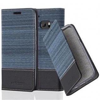 Cadorabo Hülle für HTC 10 (One M10) in DUNKEL BLAU SCHWARZ - Handyhülle mit Magnetverschluss, Standfunktion und Kartenfach - Case Cover Schutzhülle Etui Tasche Book Klapp Style