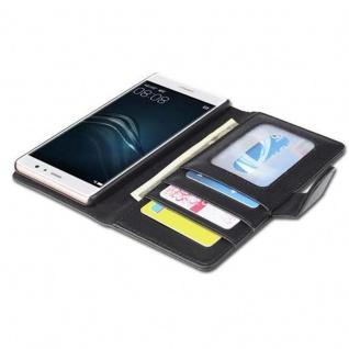 Cadorabo Hülle für Huawei P9 in OXID SCHWARZ ? Handyhülle mit Magnetverschluss und 3 Kartenfächern ? Case Cover Schutzhülle Etui Tasche Book Klapp Style - Vorschau 2