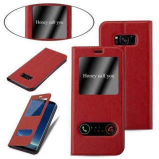 Cadorabo Hülle für Samsung Galaxy S8 in SAFRAN ROT ? Handyhülle mit Magnetverschluss, Standfunktion und 2 Sichtfenstern ? Case Cover Schutzhülle Etui Tasche Book Klapp Style - Vorschau 4