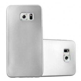 Cadorabo Hülle für Samsung Galaxy S6 EDGE in METALLIC SILBER - Handyhülle aus flexiblem TPU Silikon - Silikonhülle Schutzhülle Ultra Slim Soft Back Cover Case Bumper - Vorschau 1