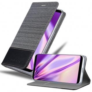 Cadorabo Hülle für MEIZU NOTE 8 in GRAU SCHWARZ - Handyhülle mit Magnetverschluss, Standfunktion und Kartenfach - Case Cover Schutzhülle Etui Tasche Book Klapp Style