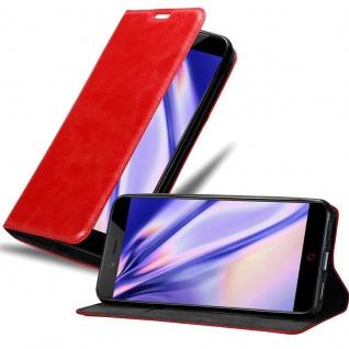 Cadorabo Hülle für ZTE Nubia Z17 MINI in APFEL ROT - Handyhülle mit Magnetverschluss, Standfunktion und Kartenfach - Case Cover Schutzhülle Etui Tasche Book Klapp Style
