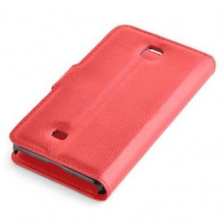 Cadorabo Hülle für LG F5 / LUCID 2 in KARMIN ROT - Handyhülle mit Magnetverschluss, Standfunktion und Kartenfach - Case Cover Schutzhülle Etui Tasche Book Klapp Style - Vorschau 2
