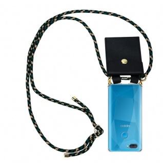Cadorabo Handy Kette für Oppo A12 in CAMOUFLAGE Silikon Necklace Umhänge Hülle mit Gold Ringen, Kordel Band Schnur und abnehmbarem Etui Schutzhülle