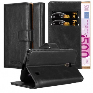 Cadorabo Hülle für Nokia 1 2017 in GRAPHIT SCHWARZ Handyhülle mit Magnetverschluss, Standfunktion und Kartenfach Case Cover Schutzhülle Etui Tasche Book Klapp Style