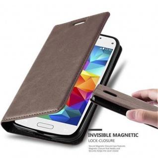 Cadorabo Hülle für Samsung Galaxy S5 MINI / S5 MINI DUOS in KAFFEE BRAUN - Handyhülle mit Magnetverschluss, Standfunktion und Kartenfach - Case Cover Schutzhülle Etui Tasche Book Klapp Style