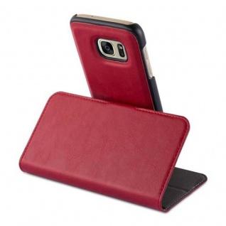 Cadorabo Hülle für Samsung Galaxy S7 - Hülle in GRANATAPFEL ROT - Handyhülle im 2-in-1 Design mit Standfunktion und Kartenfach - Hard Case Book Etui Schutzhülle Tasche Cover - Vorschau 4