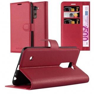 Cadorabo Hülle für LG STYLUS 2 in KARMIN ROT - Handyhülle mit Magnetverschluss, Standfunktion und Kartenfach - Case Cover Schutzhülle Etui Tasche Book Klapp Style