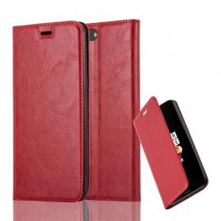 Cadorabo Hülle für OnePlus 5 in APFEL ROT Handyhülle mit Magnetverschluss, Standfunktion und Kartenfach Case Cover Schutzhülle Etui Tasche Book Klapp Style