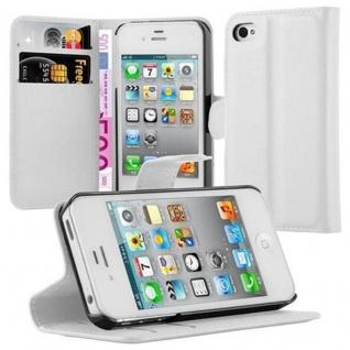 Cadorabo Hülle für Apple iPhone 4 / iPhone 4S in ARKTIS WEIß - Handyhülle mit Magnetverschluss, Standfunktion und Kartenfach - Case Cover Schutzhülle Etui Tasche Book Klapp Style