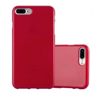 Cadorabo Hülle für Apple iPhone 8 PLUS / iPhone 7 PLUS / iPhone 7S PLUS in JELLY ROT Handyhülle aus flexiblem TPU Silikon Silikonhülle Schutzhülle Ultra Slim Soft Back Cover Case Bumper