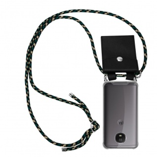 Cadorabo Handy Kette für Motorola MOTO G5S in CAMOUFLAGE Silikon Necklace Umhänge Hülle mit Silber Ringen, Kordel Band Schnur und abnehmbarem Etui Schutzhülle