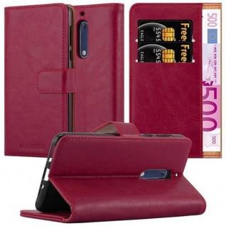 Cadorabo Hülle für Nokia 5 2017 in WEIN ROT ? Handyhülle mit Magnetverschluss, Standfunktion und Kartenfach ? Case Cover Schutzhülle Etui Tasche Book Klapp Style