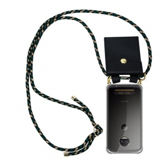 Cadorabo Handy Kette für Motorola MOTO Z2 FORCE in CAMOUFLAGE - Silikon Necklace Umhänge Hülle mit Gold Ringen, Kordel Band Schnur und abnehmbarem Etui ? Schutzhülle