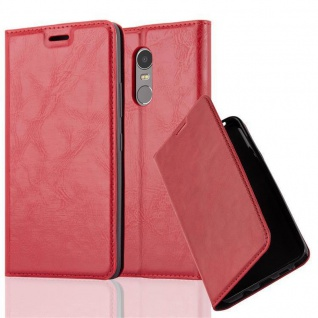 Cadorabo Hülle für Lenovo K6 NOTE in APFEL ROT - Handyhülle mit Magnetverschluss, Standfunktion und Kartenfach - Case Cover Schutzhülle Etui Tasche Book Klapp Style