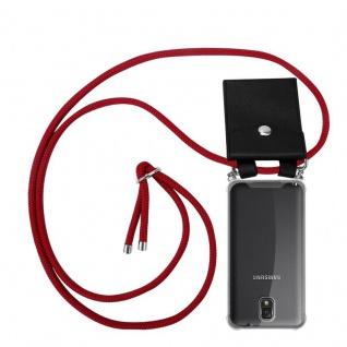 Cadorabo Handy Kette für Samsung Galaxy NOTE 3 in RUBIN ROT - Silikon Necklace Umhänge Hülle mit Silber Ringen, Kordel Band Schnur und abnehmbarem Etui - Schutzhülle