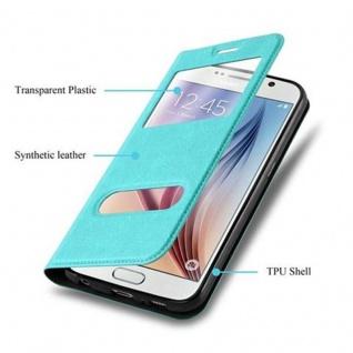 Cadorabo Hülle für Samsung Galaxy S6 in MINT TÜRKIS - Handyhülle mit Magnetverschluss, Standfunktion und 2 Sichtfenstern - Case Cover Schutzhülle Etui Tasche Book Klapp Style - Vorschau 3