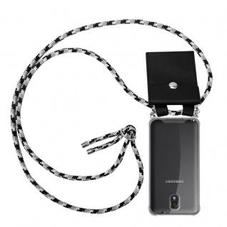 Cadorabo Handy Kette für Samsung Galaxy NOTE 3 in SCHWARZ CAMOUFLAGE - Silikon Necklace Umhänge Hülle mit Silber Ringen, Kordel Band Schnur und abnehmbarem Etui - Schutzhülle
