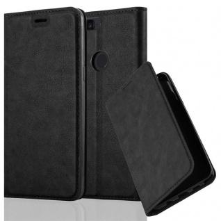 Cadorabo Hülle für OnePlus 5T in NACHT SCHWARZ - Handyhülle mit Magnetverschluss, Standfunktion und Kartenfach - Case Cover Schutzhülle Etui Tasche Book Klapp Style