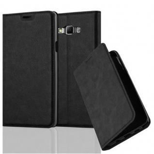 Cadorabo Hülle für Samsung Galaxy A7 2015 in NACHT SCHWARZ - Handyhülle mit Magnetverschluss, Standfunktion und Kartenfach - Case Cover Schutzhülle Etui Tasche Book Klapp Style