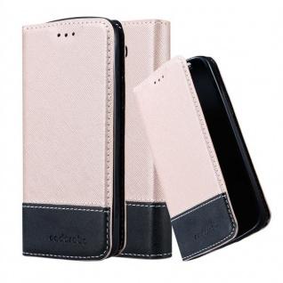 Cadorabo Hülle für LG G2 MINI in ROSÉ GOLD SCHWARZ ? Handyhülle mit Magnetverschluss, Standfunktion und Kartenfach ? Case Cover Schutzhülle Etui Tasche Book Klapp Style