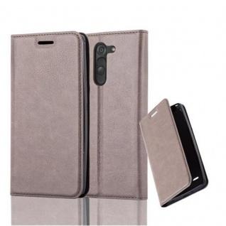Cadorabo Hülle für LG G3 STYLUS in KAFFEE BRAUN - Handyhülle mit Magnetverschluss, Standfunktion und Kartenfach - Case Cover Schutzhülle Etui Tasche Book Klapp Style