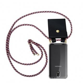 Cadorabo Handy Kette für Samsung Galaxy NOTE 3 in ROT GELB WEISS - Silikon Necklace Umhänge Hülle mit Gold Ringen, Kordel Band Schnur und abnehmbarem Etui ? Schutzhülle
