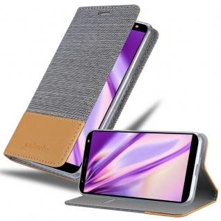 Cadorabo Hülle für LG K40 in HELL GRAU BRAUN Handyhülle mit Magnetverschluss, Standfunktion und Kartenfach Case Cover Schutzhülle Etui Tasche Book Klapp Style