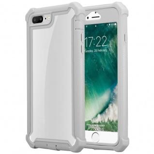 Cadorabo Hülle für Apple iPhone 7 PLUS / 7S PLUS / 8 PLUS in BIRKEN GRAU - 2-in-1 Handyhülle mit TPU Silikon-Rand und Acryl-Glas-Rücken - Schutzhülle Hybrid Hardcase Back Case