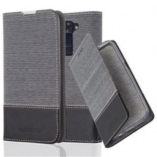 Cadorabo Hülle für LG K8 2016 in GRAU SCHWARZ Handyhülle mit Magnetverschluss, Standfunktion und Kartenfach Case Cover Schutzhülle Etui Tasche Book Klapp Style