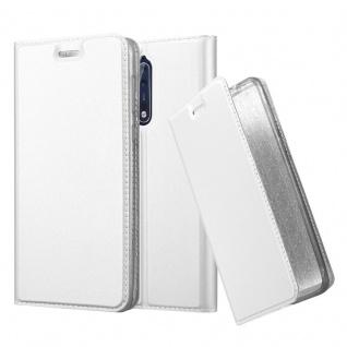 Cadorabo Hülle für Nokia 8 2017 in CLASSY SILBER - Handyhülle mit Magnetverschluss, Standfunktion und Kartenfach - Case Cover Schutzhülle Etui Tasche Book Klapp Style
