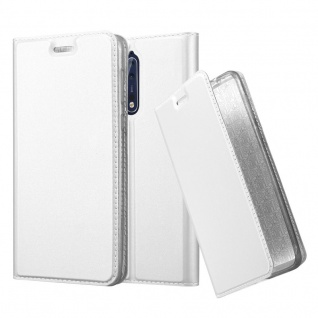 Cadorabo Hülle für Nokia 8 2017 in CLASSY SILBER Handyhülle mit Magnetverschluss, Standfunktion und Kartenfach Case Cover Schutzhülle Etui Tasche Book Klapp Style