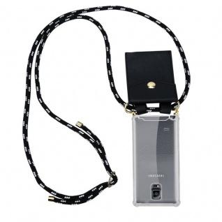 Cadorabo Handy Kette für Samsung Galaxy NOTE 4 in SCHWARZ SILBER ? Silikon Necklace Umhänge Hülle mit Gold Ringen, Kordel Band Schnur und abnehmbarem Etui ? Schutzhülle