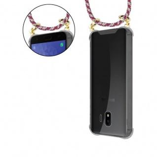Cadorabo Handy Kette für Samsung Galaxy J4 2018 in ROT GELB WEISS - Silikon Necklace Umhänge Hülle mit Gold Ringen, Kordel Band Schnur und abnehmbarem Etui ? Schutzhülle - Vorschau 5