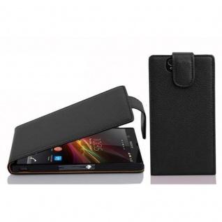 Cadorabo Hülle für Sony Xperia Z in OXID SCHWARZ - Handyhülle im Flip Design aus strukturiertem Kunstleder - Case Cover Schutzhülle Etui Tasche Book Klapp Style - Vorschau 1