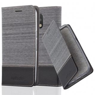 Cadorabo - Book Style Schutz-Hülle für Lenovo (Motorola) MOTO G4 PLUS case cover im Stoff - Kunstleder Design mit Kartenfach, Standfunktion und unsichtbarem Magnet-Verschluss in GRAU-SCHWARZ